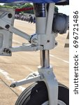 Small photo of Aircraft landing gear detail, side view