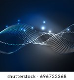 wave particles background   3d ... | Shutterstock . vector #696722368
