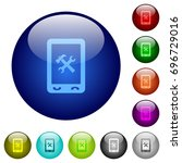 mobile maintenance icons on... | Shutterstock .eps vector #696729016