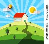 house on hill. vector flat... | Shutterstock .eps vector #696729886