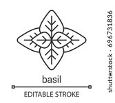 basil linear icon. thin line... | Shutterstock .eps vector #696731836