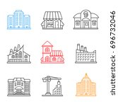 city buildings linear icons set.... | Shutterstock .eps vector #696732046