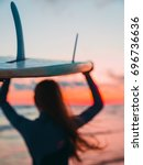 surf girl go to surfing. woman... | Shutterstock . vector #696736636