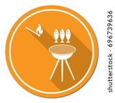 grilled fish icon. vector... | Shutterstock .eps vector #696739636