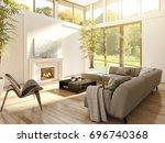 modern bright living room ... | Shutterstock . vector #696740368