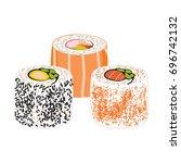 illustration of japanese fusion ... | Shutterstock .eps vector #696742132