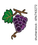 applique  grape branch. isolate ... | Shutterstock . vector #696743272