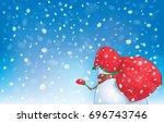 vector snowman rear view... | Shutterstock .eps vector #696743746