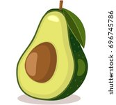 avocado with leaf tropical... | Shutterstock .eps vector #696745786