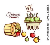farmers market. local food.... | Shutterstock .eps vector #696752866