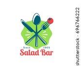 salad bar restaurant logo... | Shutterstock .eps vector #696766222