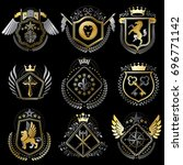 set of luxury heraldic... | Shutterstock . vector #696771142
