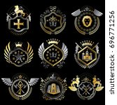 set of luxury heraldic... | Shutterstock . vector #696771256