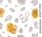 seamless pattern with autumn... | Shutterstock .eps vector #696771592