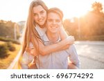 couple are spend time in city... | Shutterstock . vector #696774292