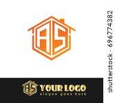 initial letter as linked logo ... | Shutterstock .eps vector #696774382