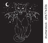 Stock vector creepy black cat with monster wings over night sky with moon and stars wiccan familiar spirit 696776356