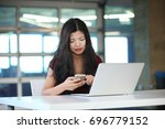 a portrait of a distracted...   Shutterstock . vector #696779152