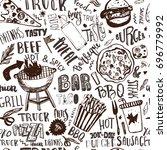 fast food truck seamless... | Shutterstock .eps vector #696779992