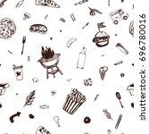 fastfood seamless pattern. menu ... | Shutterstock .eps vector #696780016