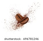 two coffee beans collide in the ... | Shutterstock . vector #696781246