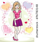 attractive young blonde woman... | Shutterstock . vector #696783148