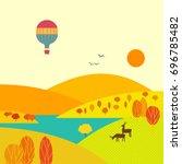 mountain valley landscape in... | Shutterstock .eps vector #696785482
