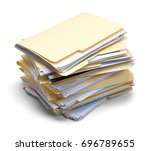 messy file folders stacked... | Shutterstock . vector #696789655
