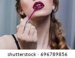 advertising lipstick  lip gloss ...   Shutterstock . vector #696789856