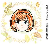 girls face  human head.... | Shutterstock . vector #696792565