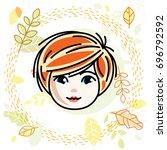 cute girls face  human head.... | Shutterstock . vector #696792592