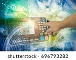 engineer hand working on... | Shutterstock . vector #696793282