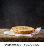 freshly grilled half bread on... | Shutterstock . vector #696796222