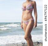 closeup of beautiful woman in... | Shutterstock . vector #696797122