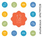 Set Of 12 Food Outline Icons...