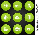 set of 9 construction icons set.... | Shutterstock .eps vector #696800035