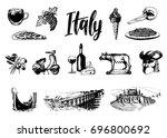 italian set of sketches. hand... | Shutterstock .eps vector #696800692