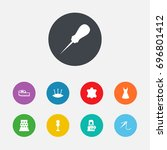 set of 9 sewing icons set... | Shutterstock .eps vector #696801412