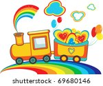 fairy rainbow train with happy... | Shutterstock .eps vector #69680146