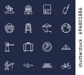 set of 16 relax outline icons... | Shutterstock .eps vector #696801886