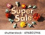 super sale lettering.wood... | Shutterstock . vector #696801946