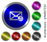 mail warning icons on round... | Shutterstock .eps vector #696807232
