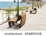 comfortable modern wooden bench ... | Shutterstock . vector #696809428