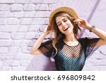 amazing long haired girl in... | Shutterstock . vector #696809842