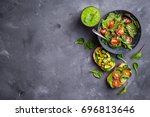 vegan vegetarian dinner... | Shutterstock . vector #696813646
