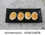 Deviled Eggs On Black Tray