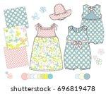 girls' fashion illustration... | Shutterstock .eps vector #696819478