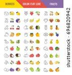 set vector elements of fruits...   Shutterstock .eps vector #696820942