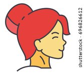 woman fresh healthy face...   Shutterstock .eps vector #696826612