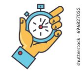 time management  hand with... | Shutterstock .eps vector #696827032